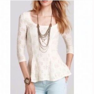 Free People Daisy Pointelle Cream Peplum Lace Top